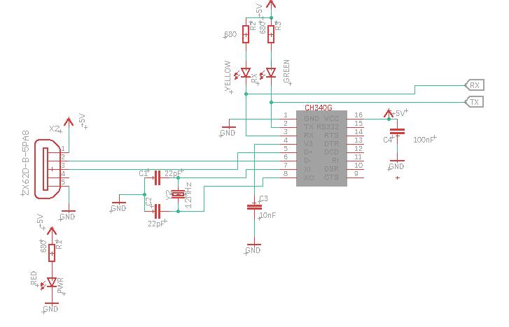 Diagrama esquemático en EAGLE para el CH340G