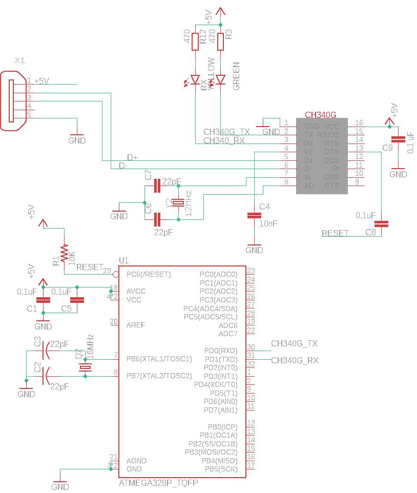 Diagrama del CH340 y ATMEGA328P
