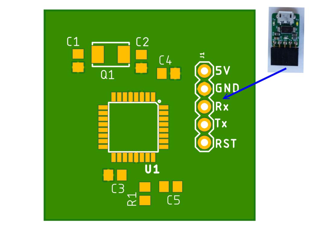 Diagrama de circuito impreso con programador externo