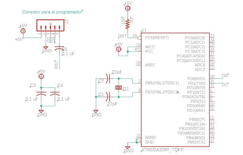 Diagrama esquemático de la plantilla para el ATMEGa328